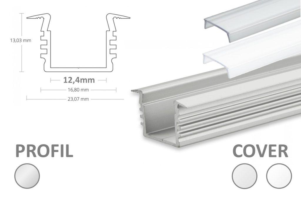 LED Einsatzprofil Alu für Nuten