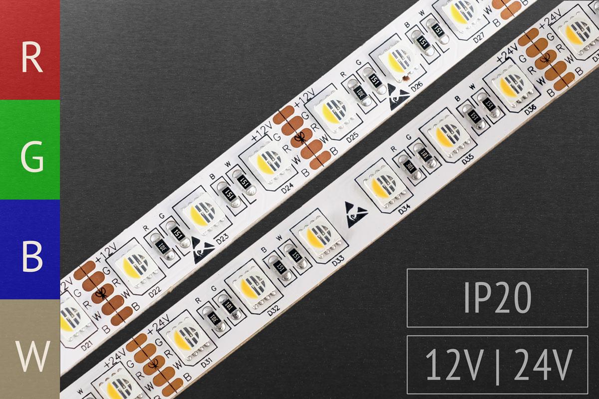 RGBW LED-Streifen 12V & 24V
