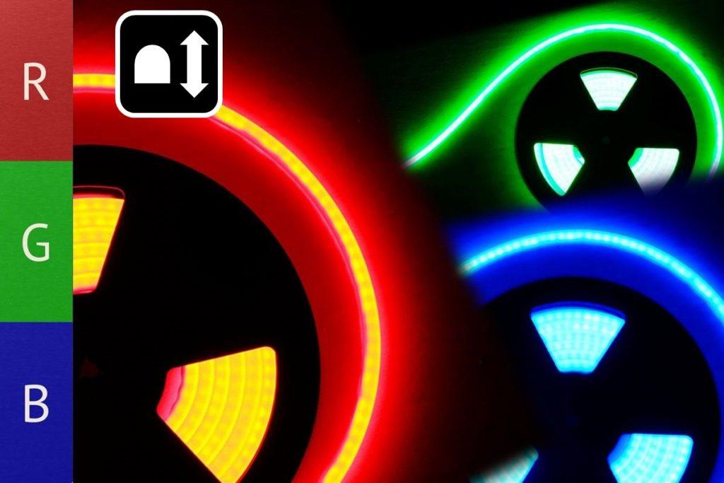 RGB-Neonflex, vertikal biegbar