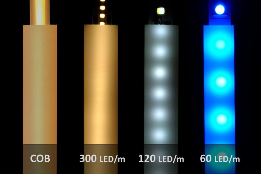 LED-Streifen in Aluprofilen mit verschiedenen LED-Dichten