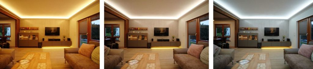 Welche Farbtemperatur im Wohnzimmer. Warmweiß, Neutralweiß, Kaltweiß.